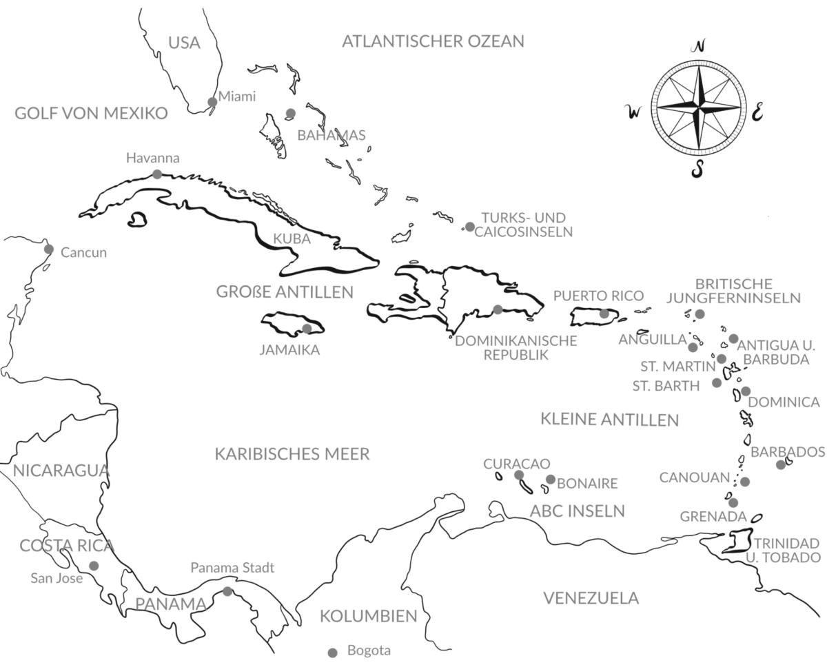 Luxusreisen in die Karibik – Argentum Reisen Karte Karibik