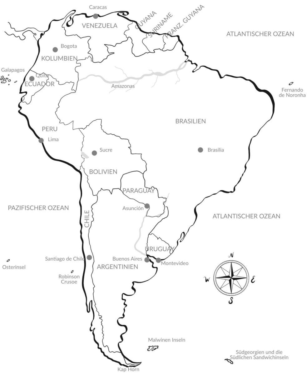Luxusreisen nach Südamerika – Argentum Reisen Karte Südamerika