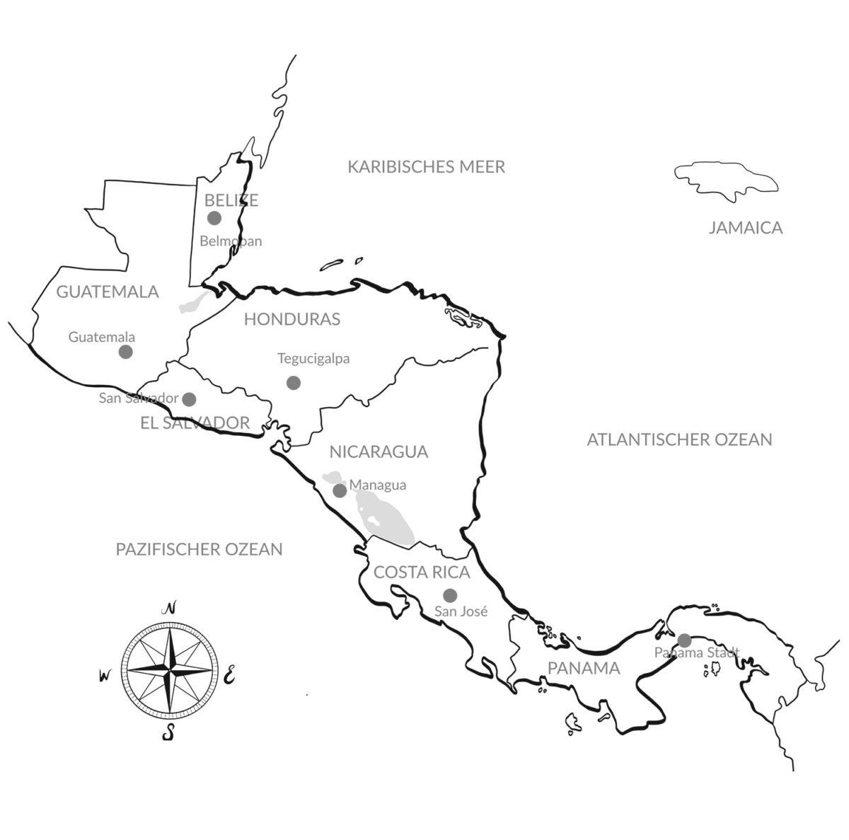 Luxusreise Mittelamerika-Karte – Argentum Reisen